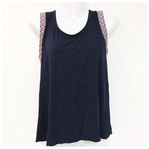 Anthropologie W5 Navy embroidered boho tank top